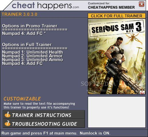 serioussam3bfe1trainer1 Serious Sam 3: BFE 12.23.2011 Promo Trainer