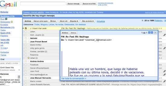 previsualización de correos en Gmail